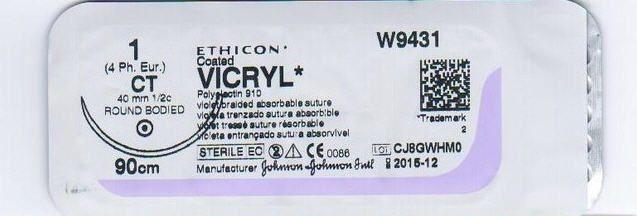 изображение Викрил W9120 3/0 (12шт, 75см, 26мм, 1/2) Ethicon, Johnson & Johnson