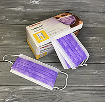 Маски Crosstex ISOFLUID (США) фиолетовые одноразовые бумажные (50 шт.) Повышенная степень защиты