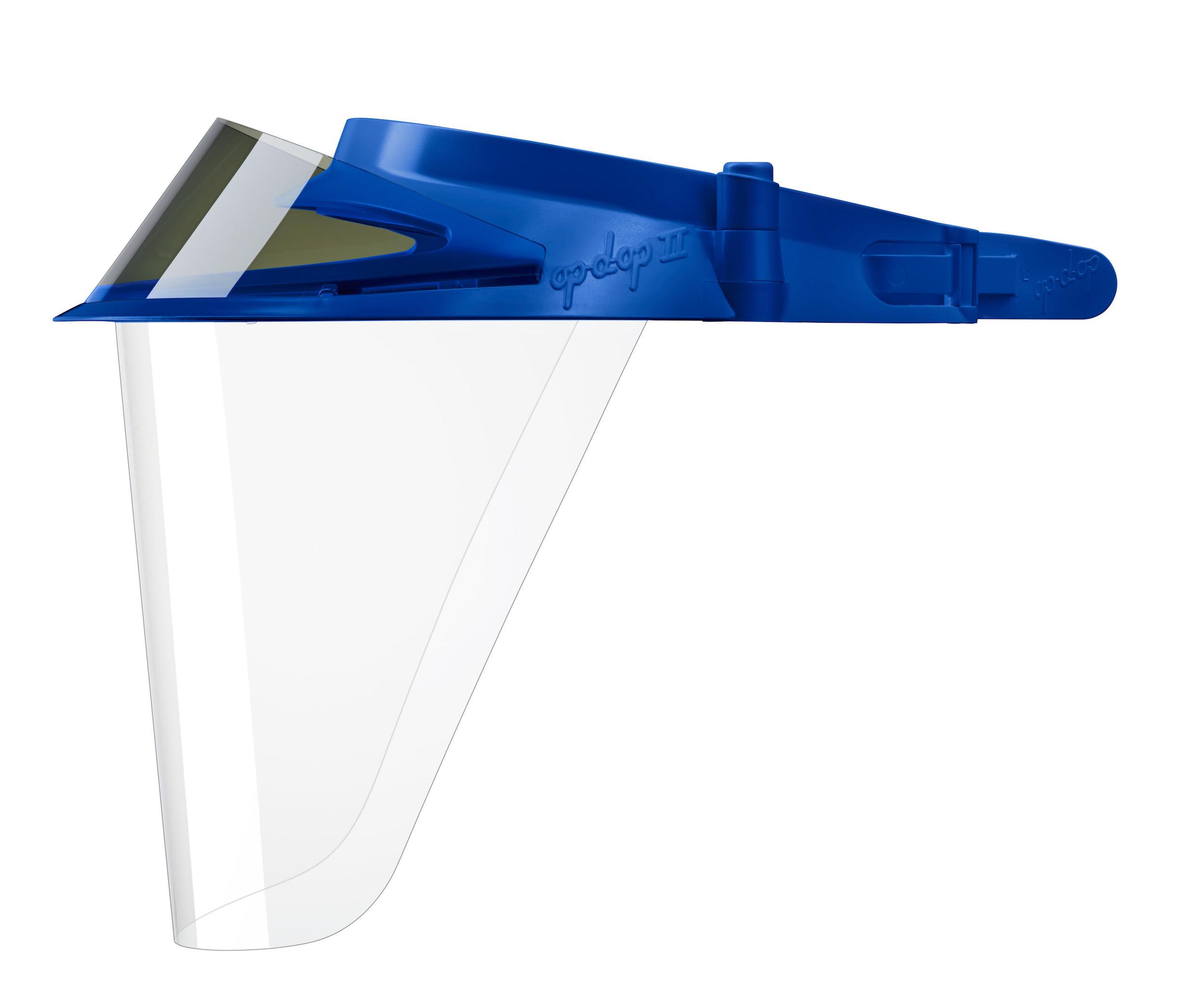 изображение Синие экраны защитные с козырьком для лица из пластмассы OP-D-OP FACE SHIELD (II)