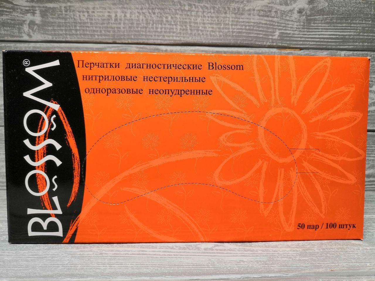изображение Перчатки нитриловые Blossom 100шт (50 пар) L (Large) Черные