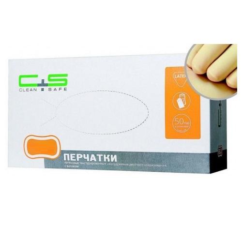 Перчатки латексные текстурированные неопудренные Clean+Safe 100шт (50 пар) размер М